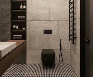 bathroom, interior, and black image