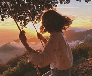 girl, sunset, and nature image