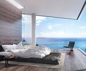 house, sea, and bedroom image