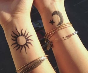tattoo, moon, and sun image