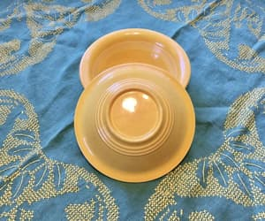 etsy, yellow fiestaware, and harlequin bowl image
