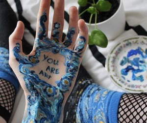 art, blue, and hand image