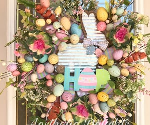 bunny, easter eggs, and floralwreath image