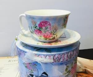 etsy, tea cup and saucer, and butterfly rose tea image