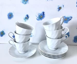 etsy, white porcelain, and cups and saucers image