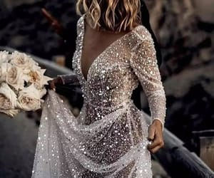 glittery, silver, and wedding image