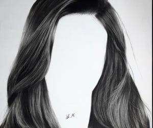 art, hair, and black hair image