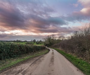 clouds, roads, and countryside image