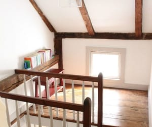 attic, staircase, and before and after image