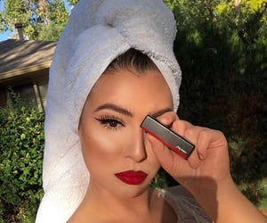 glam, makeup, and red lipstick image