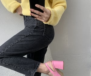asos, yellow sweater, and denim with heels image