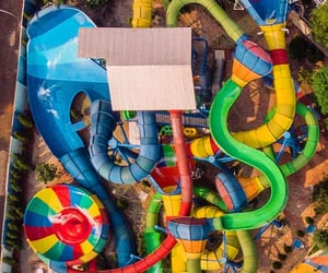aerial photography, amusement park, and aerial view image