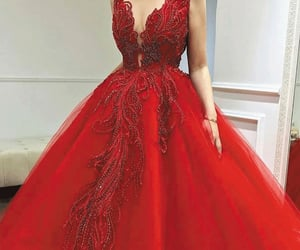 red prom dress, prom ball gown, and cheap prom dress image