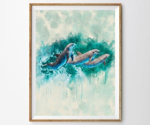 etsy, dolphin poster, and swimming dolphins image