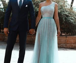 prom gown, one shoulder prom dress, and cheap prom dress image
