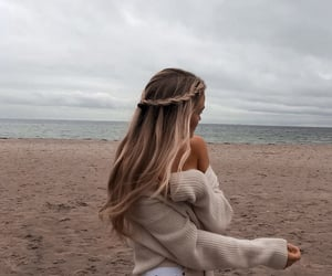 aesthetic, woman, and beach image