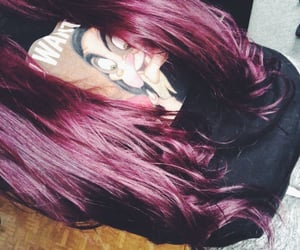 colorful hair, long hair, and purple image