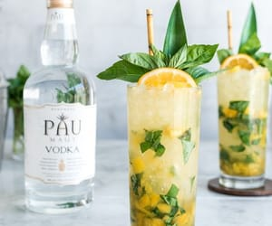 basil, drink, and pineapple image