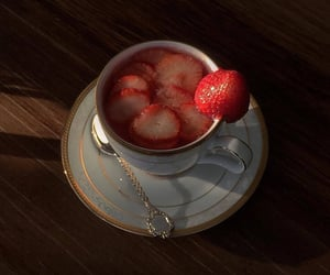 fruit, strawberries, and tea image