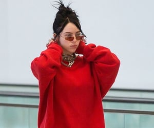 red, glasses, and billie eilish image