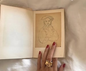 art, books, and red nails image