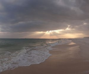 clouds, beach, and ocean image