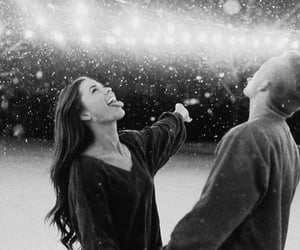 black and white, couple, and fun image