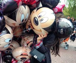 bag, baloon, and girl image
