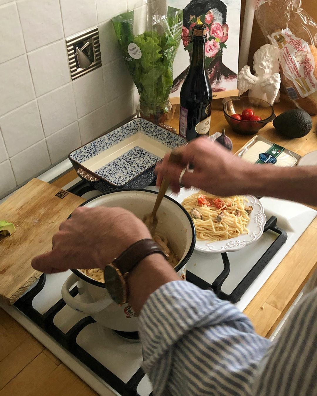 food, cooking, and pasta image