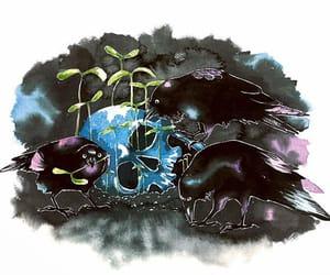 art, crow, and raven image