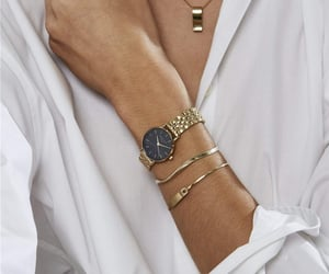 gold, watch, and rosefield image