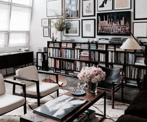 apartment, art, and books image