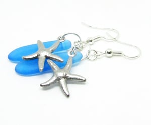 turquoise earrings, starfish jewelry, and starfish earrings image