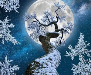 moon, sky, and snow image