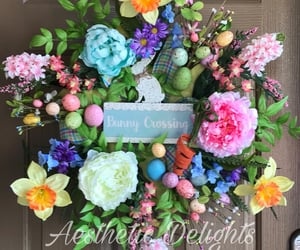 easter eggs, eastereggs, and floralwreath image