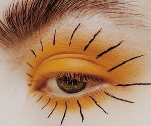 eye, makeup, and yellow image