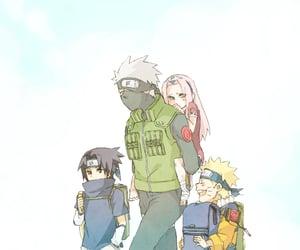 sasuke uchiha, team 7, and kakashi hatake image