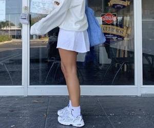 girl, skirt, and sneakers image