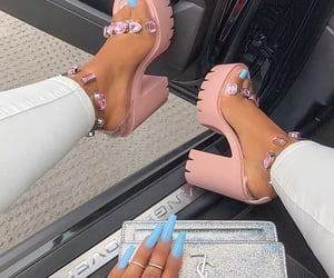 heels, nails, and pink image