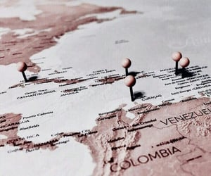 map, travel, and rose gold image