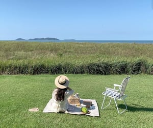 green, picnic, and sea image