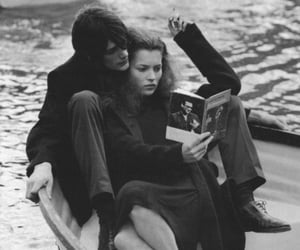 love, black and white, and book image