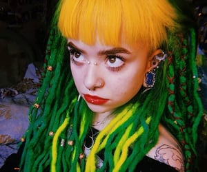 body mods, Tattoos, and green dreads image