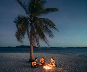 beach, fire, and memories image
