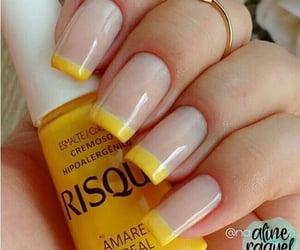 nails, yellow, and unha image