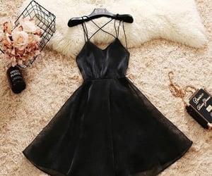 black, party dress, and black dress image