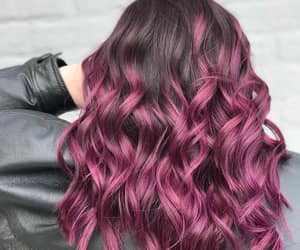 purple hair, wavy hair, and claret hair color image