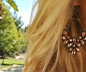 earrings, blonde, and accessories image