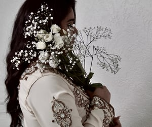 dress, photoshoot, and flower image