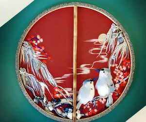 art, red, and chinese fan tuanshan image